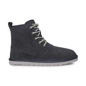 UGG Mens Suede Leather with Fur Navy Lace Up Boots